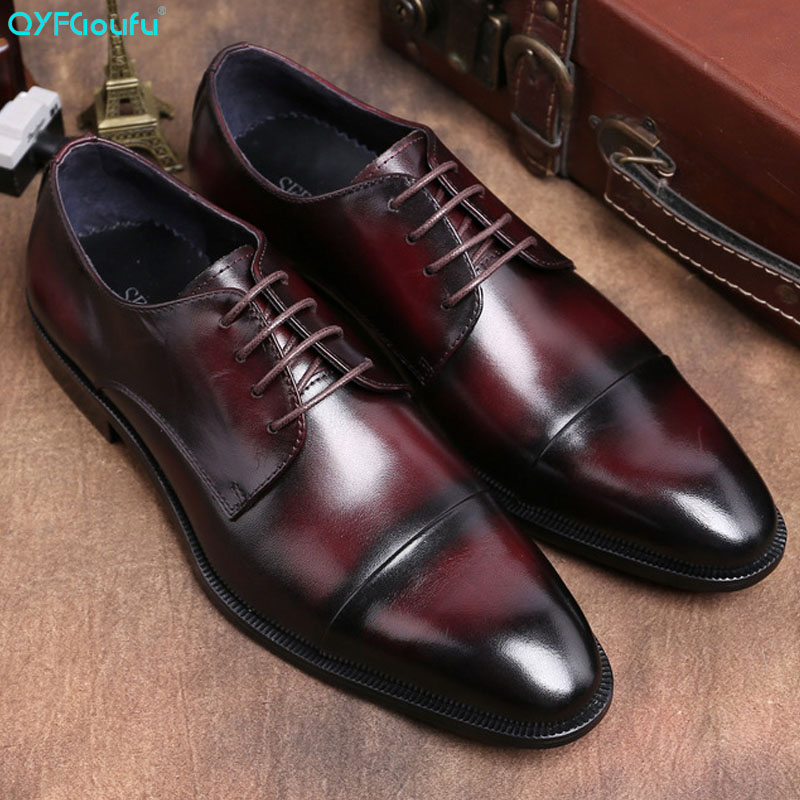 QYFCIOUFU Summer Fashion British Style Formal Shoes Men Dress Loafers Genuine Leather Mens Slip-on Handmade Office