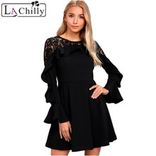 La Chilly Robe Hiver 2018 Autumn Winter Dresses Short Dress Women Black  Lace Long Sleeve Skater d9932543e649