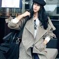 MX004 Мода нового прибытия случайные свободные негабаритных макси лонг женщины замши осень пальто 2016