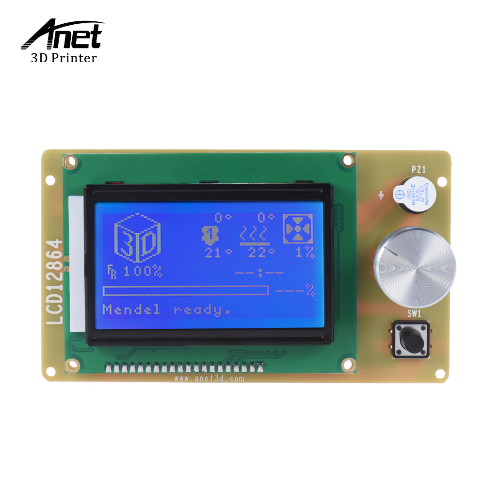 Anet 12864 LCD Smart Display Screen Controller Module with Cable for RAMPS Arduino Mega Shield Reprap 3D Printer Kit Accessory