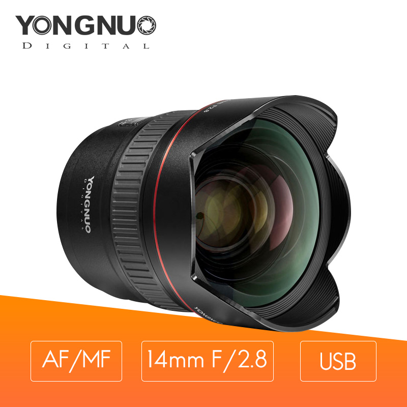 YONGNUO YN14mm F2.8 Ultra wide angle camera lens AF autofocus 2 aspherical glass lenses multi-layer coating Suppress dispersion