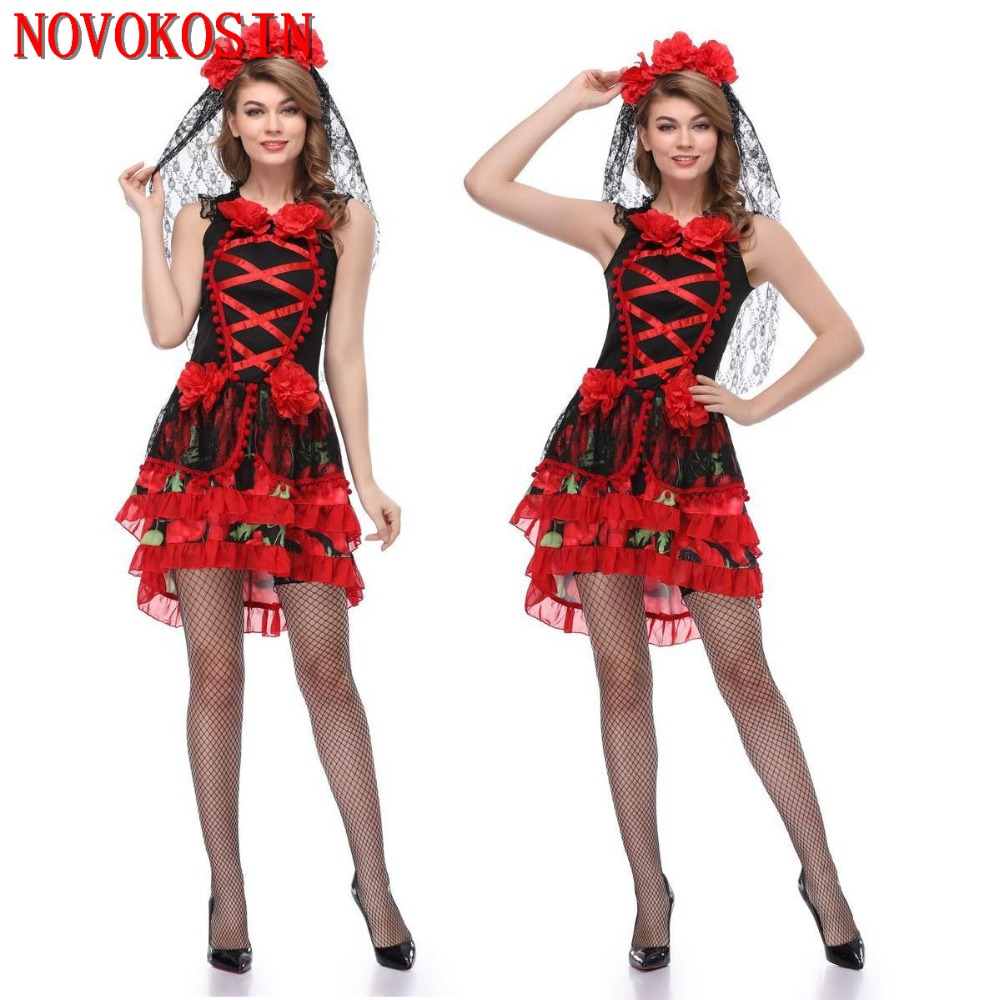 YQ119 <font><b>2018</b></font> <font><b>Sexy</b></font> <font><b>Women</b></font> Party Princess Black Red Bride Tulle Dress Adult <font><b>Halloween</b></font> Skeleton Zombie DS Nightclub Cosplay Costumes image