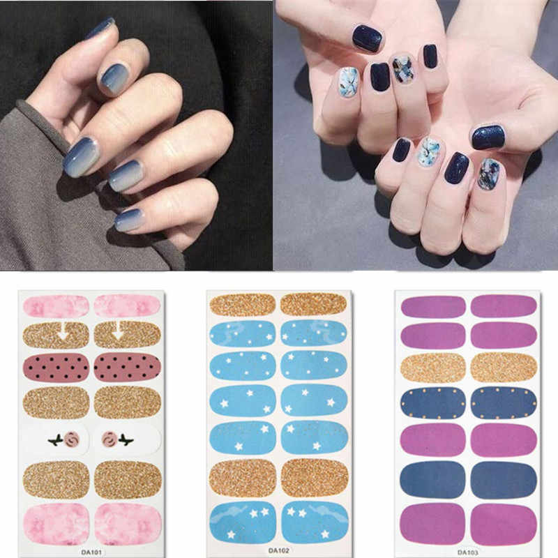 14tips/sheet Full Cover Colorful 3D Nail Stickers Warps Adhesive Decals Foils Polish DIY Nail Art Stickers Beauty Accessories