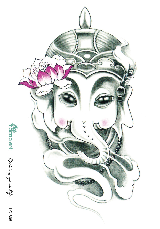 SC2901 Large Pencil Sketch Elephant Nose General Lotus Drawing Designs Cool Chest Back Shoulder Temporary Tattoo Stickers ...