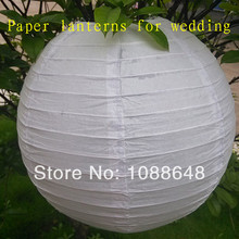 Free Shipping 200pcs 8inch(20cm) Chinese handmade hanging round white paper lanterns lamp for wedding party decoration