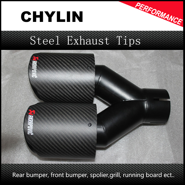 3 inlet exhaust dual tip glossy carbon