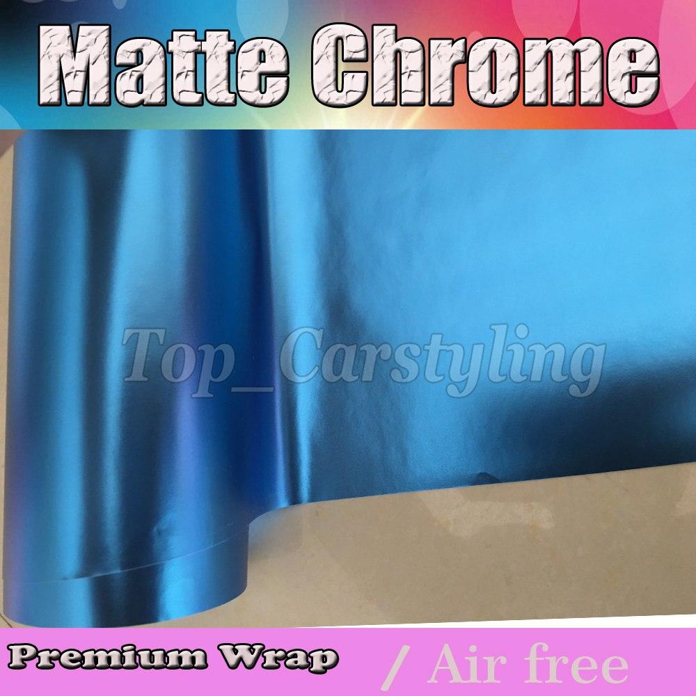 Film de luxe d'enveloppe de voiture d'enveloppe de vinyle de Chrome de Satin bleu titanique avec la taille de feuille de fonte d'air/chrome mat 1.52x20 m/Roll