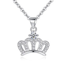 купить Fashion Women Jewelry S925 Sterling Silver Crown Pendant Necklace AAA Zircon Clavicle Chain Female Statement Necklace Jewelry дешево