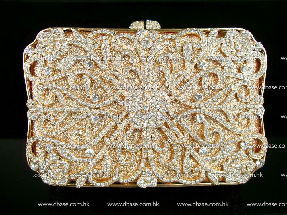 ФОТО 8132 crystal Treasure box Clear crystal in Golden case Wedding Bridal hollow Metal Evening purse clutch bag handbag