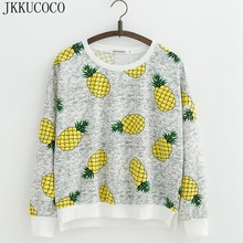 JKKUCOCO Top Hot Model Yellow Pineapple Printed Sweatshirts Women hoodies Long sleeve Cotton hoodies Sweatshirt Pullovers S M L(China)