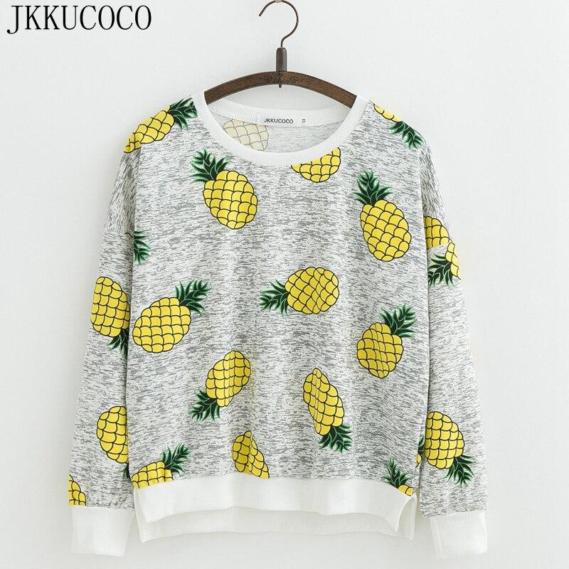 JKKUCOCO Top chaud modèle jaune ananas imprimé Sweatshirts sweat à capuche pour femme manches longues sweat à capuche en coton sweat pulls S M L