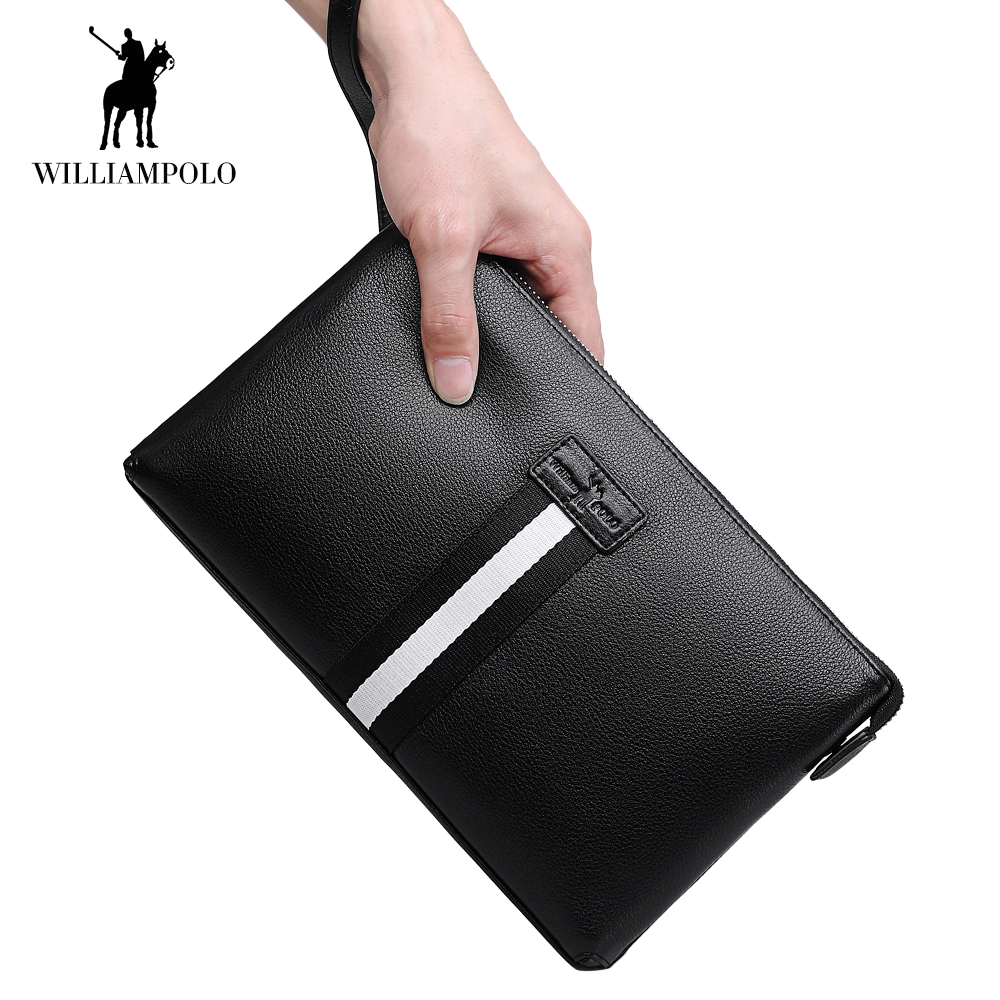 WilliamPOLO Men Wallet Long Clutch Envelope Credit Card Holder Genuine Leather Multi Card Case Phone Purse with Zipper Pocket 47