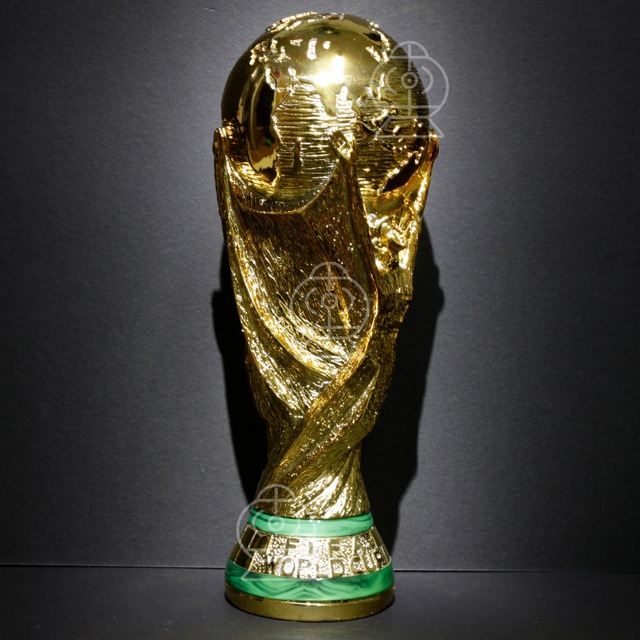Free Shipping 2014 World Cup Brazil Champion Football Malachite Souvenir  Resin Trophy Replica 1 1 Model soccer 36cm Gold-plated 53c2f8a2f