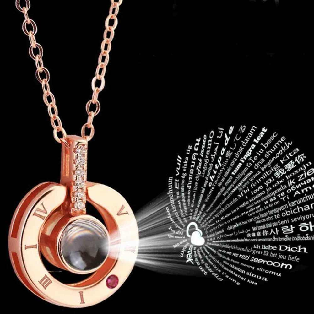 Rose Gold&Silver Alloy Love Pendant 100 Languages I Love You Shaking Sounds with Projection Clavicle Chain Sweater Necklace