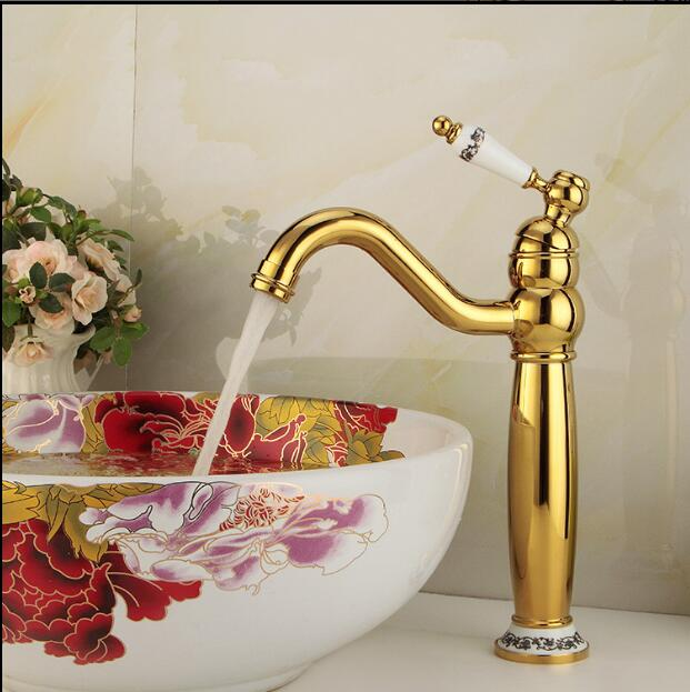 Free Shipping Modern Gold Faucet Rose Gold Bathroom Faucets Gold Finish Basin Faucets Luxury Bathroom Sink Faucet ems dhl free shipping gold finish bathroom sink beauty faucet gold clour sink faucet artistic basin faucet luxurious faucet