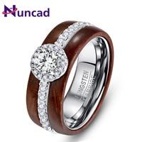 NUNCAD Exaggeration Cubic Zirconia Woman Men Ring Wedding Bands Engagement Tungsten Carbide Acacia Ring Gift