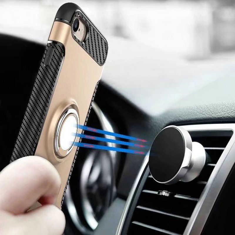 עבור סמסונג גלקסי S8 בתוספת S7 קצה מקרה רכב שריון כיסוי עבור iPhone 7 בתוספת 6 6 s בתוספת עם טבעת סטנד עור מעטפת עמיד הלם