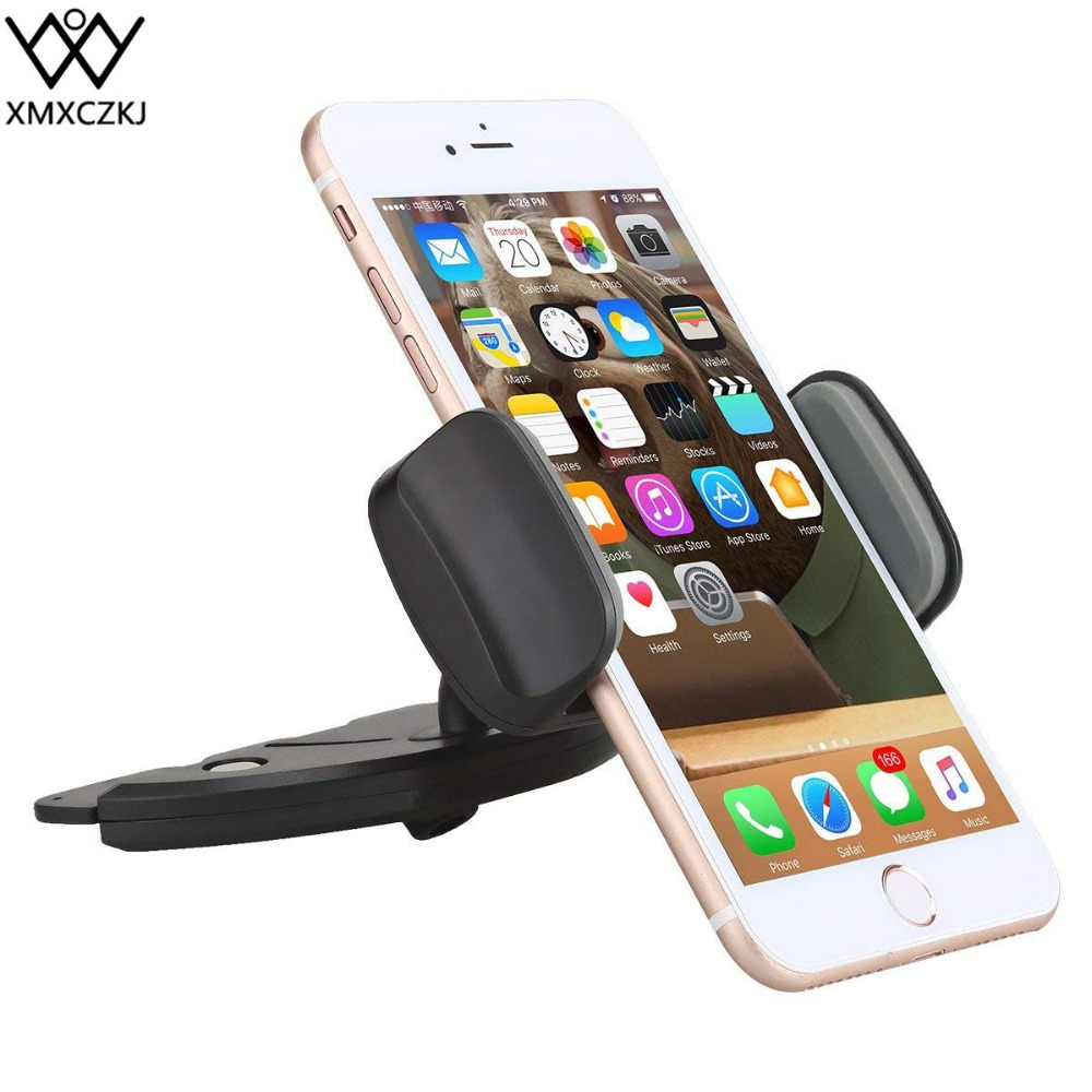 XMXCZKJ Unive Phone Holder CD Slot Car Mount With Spring Holder 360 Rotation Cars Cradle For IPhone 10 Car Phone Mount For Mi5