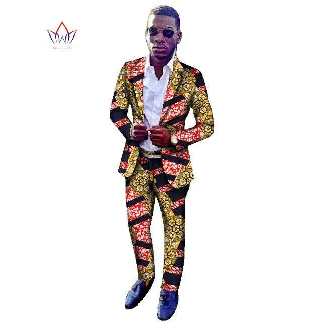 2018 Customized 2 Pieces Pants Suits Traditional Africa Style Suit Men Fashion Party Suit  Men Suit Plus Size Hot Sale WYN164
