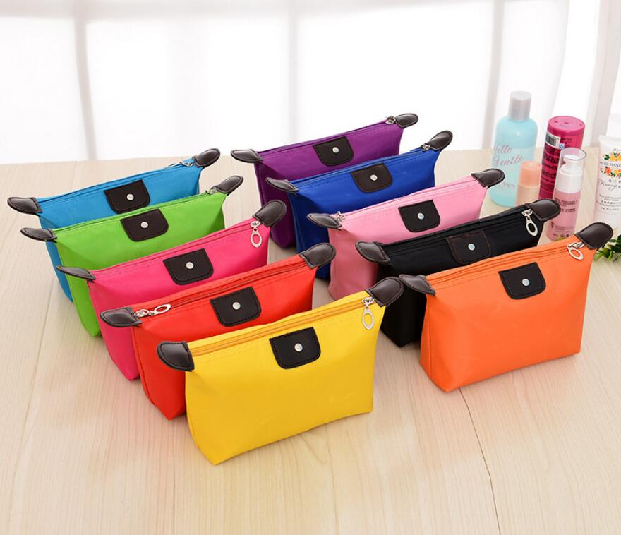 500pcs lot cosmetic bag Multi colors storage bag Fashion Lady Travel Cosmetic Pouch Bags Clutch Storage