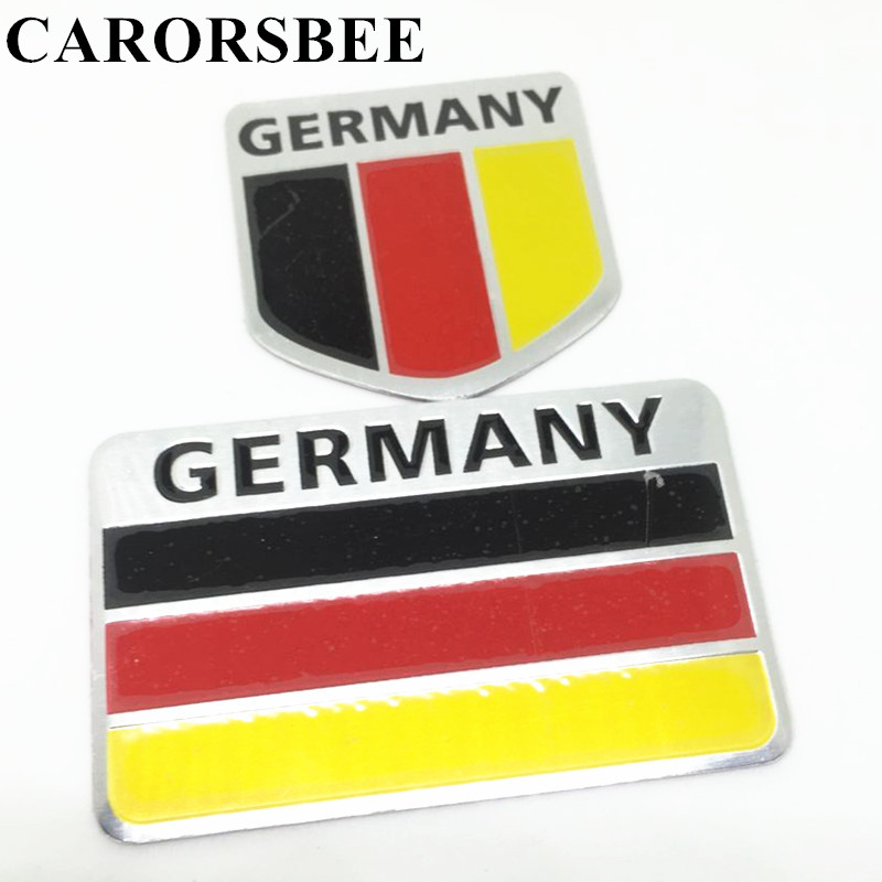 CARORSBEE 3D aluminum GERMANY letter Car Emblem Badge Decal National Flag Auto Automobiles motorcycle fuel tank Notebook sticker car sticker sports word letter 3d chrome metal emblem badge decal auto dropshipping 014