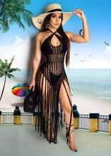 купить Adogirl Hand Crochet Fishnet Long Tassel Summer Beach Dress Fashion Sexy Halter Backless Maxi Dress Women Tunic Swimwear Outfits дешево