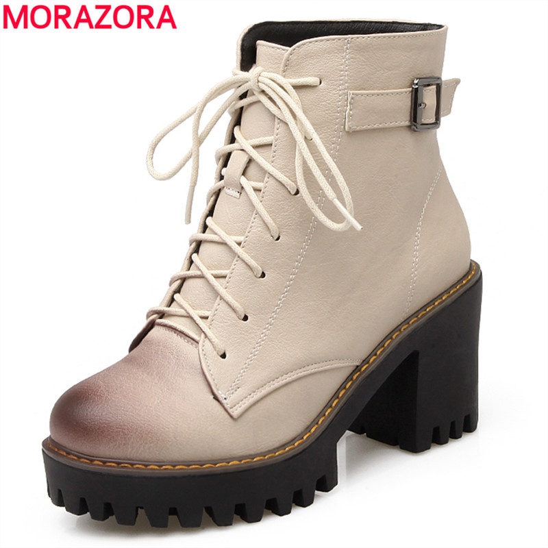 MORAZORA 2017 new autumn lace up women boots square high heels 8.5cm ankle boots ladies buckle fashion boots sexy shoes