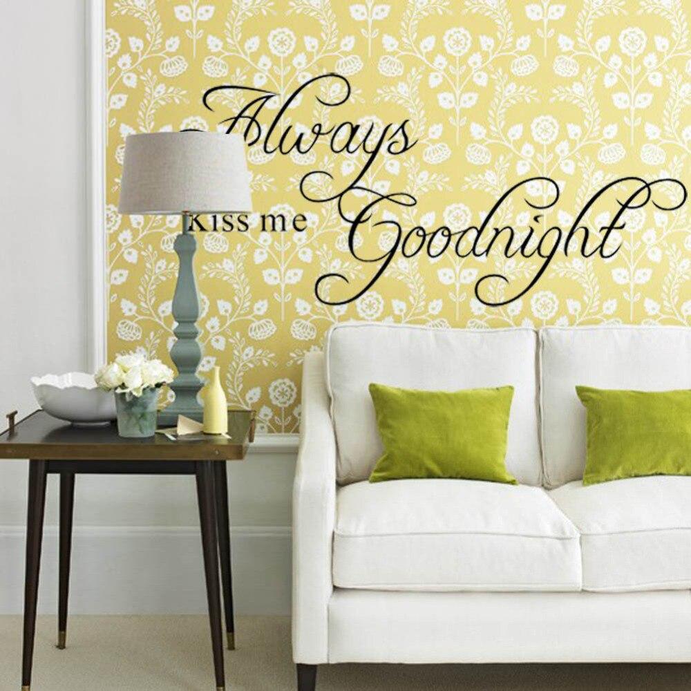 ZY2003 Always Kiss Me Goodnight Black English Home Decor DIY ...