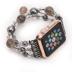 Image 5 - Bracelet Agate extensible pour femmes, pour Apple Bracelet de montre, pour iWatch Seies 1/2/3/4/5 44mm 42mm 40mm 38mm, boucle Bracelet de montre