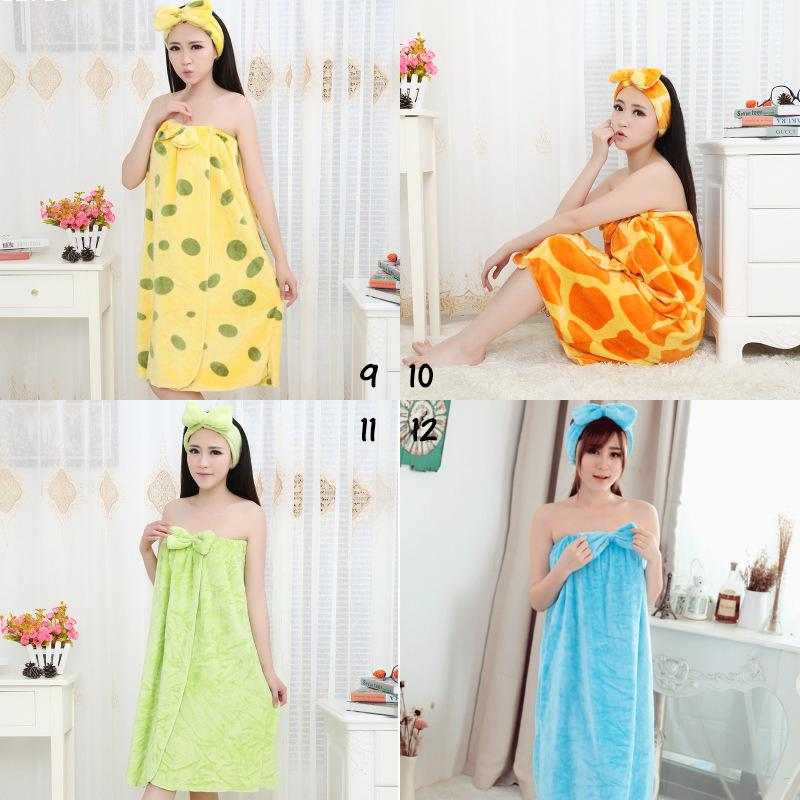 colorful bowknot nightgowns hot female girls bath skirt towel clothes fashion dresses headband for women c2 - Flannel Nightgowns