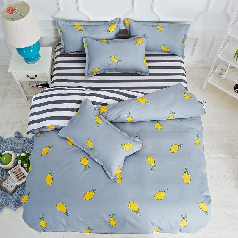 Bedding Set Summer Lemon Duvet Cover Set King Bed Sheet