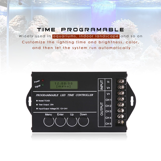 Online shop upgraded tc420 tc421 time programmable 5 ch output led upgraded tc420 tc421 time programmable 5 ch output led strip light controller widely used in aquariums fish tank plant grow aloadofball
