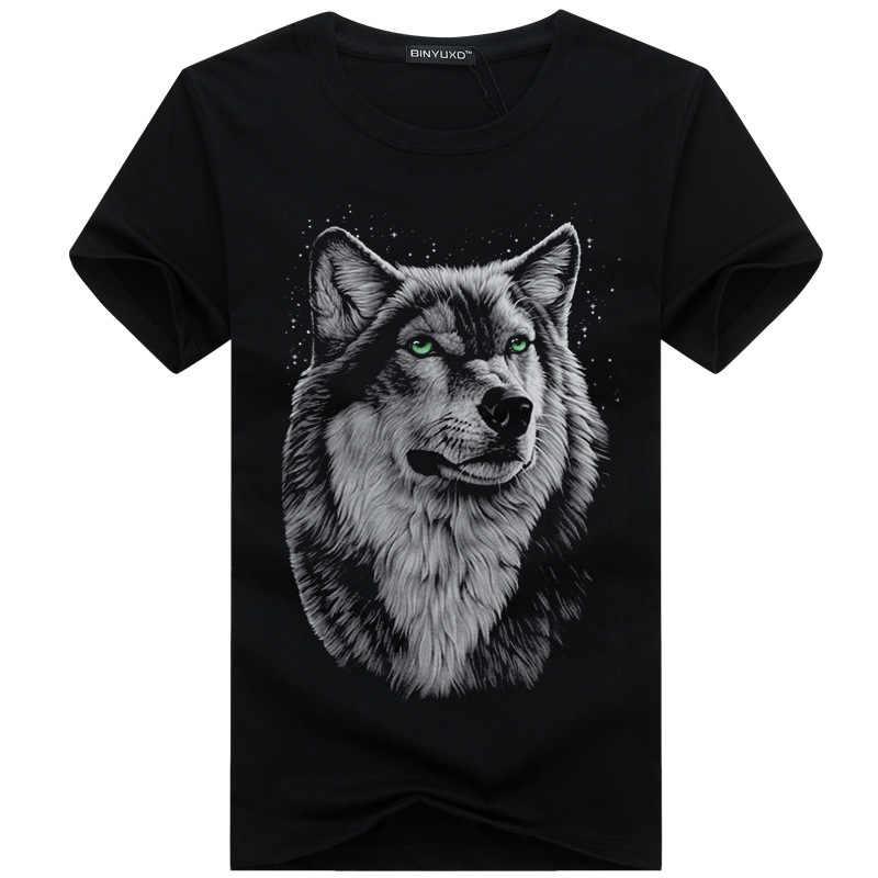 SWENEARO Мужская одежда футболка белая футболка Повседневная хлопковая Футболка с рисунком волка и коротким рукавом Мужская брендовая футболка 5XL