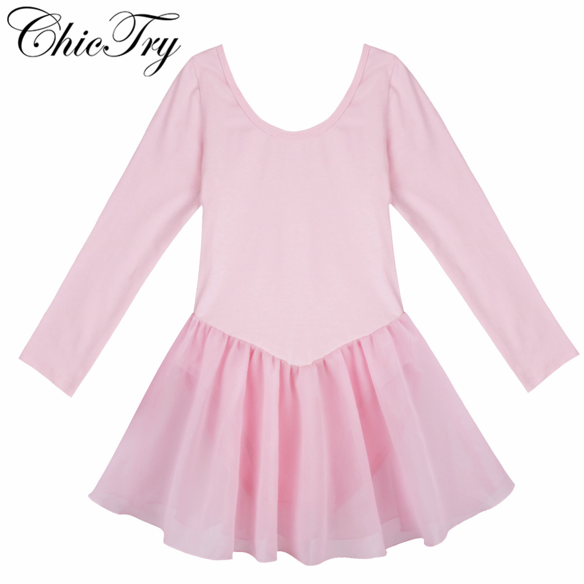 Children Kids Long Sleeve Ballet Dancer Leotard Tutu Dress Girls Ballet Class Stage Performance Dance Costumes Dancing Clothes