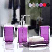 Acrylic 4 Piece Bathroom Accessory Set Soap Dispenser Bottle Soap Dish Cup Toothbrush Holder Case Caddy TB Sale