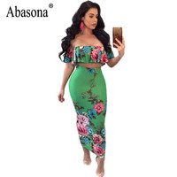 Abasona Women Summer Dresses Floral Printed Off The Shoulder Dress Casual Women Two Piece Set Split