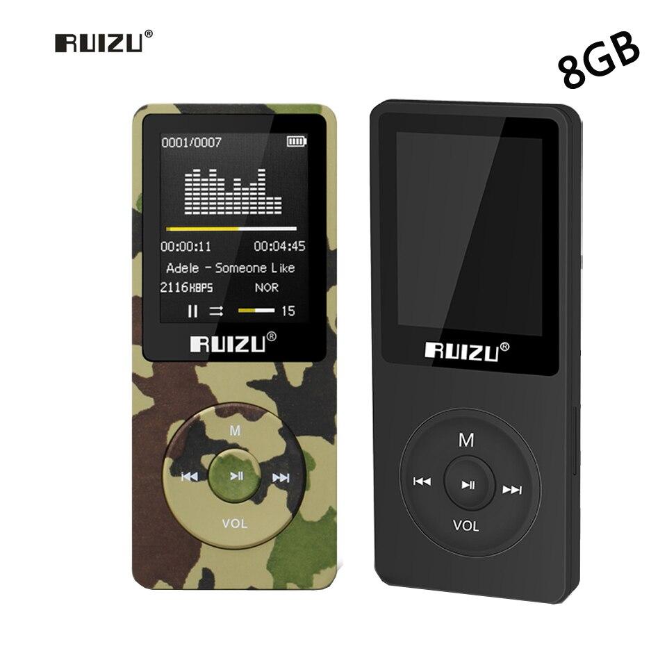 Ursprüngliche RUIZU X02 8 GB Protable Mp4-player 80 stunden Spielen Musik-player Mit 1,8 inch Bildschirm/FM/E-Book/Uhr/Recorder