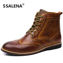 Genuine Leather Platform Boots Men Soft Footwear Classic Cowboy Boots Spring Autumn Outdoor Shoes AA20206