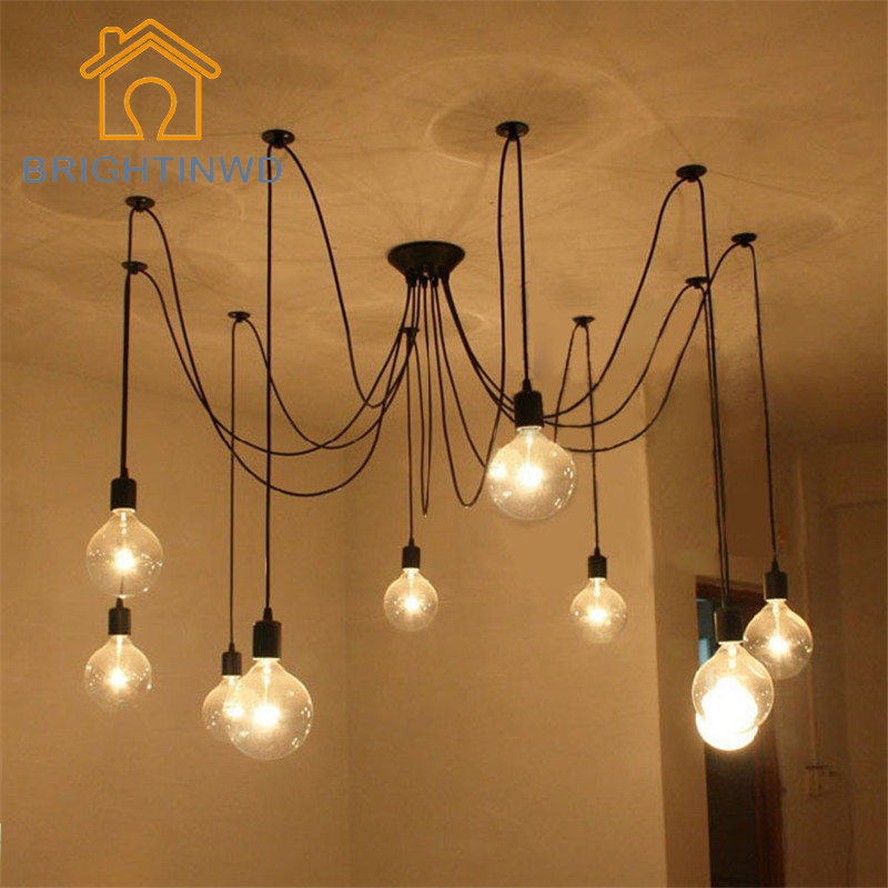 DIY Pendant lights Modern Nordic E27 Retro Hanging Lamps Edison Bulb Fixtures Spider Ceiling Lamp Fixture Light for Living RoomDIY Pendant lights Modern Nordic E27 Retro Hanging Lamps Edison Bulb Fixtures Spider Ceiling Lamp Fixture Light for Living Room