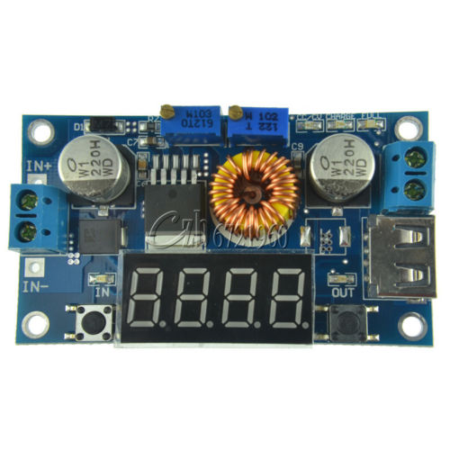 Adjustable 5A CC/CV Power Step-down Charge Module LED Driver W/ USB Voltmeter 1p original 5a dc to dc cc cv lithium battery step down charging board led power converter lithium charger step down module for