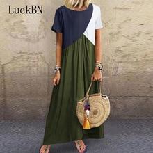 5XL Summer Dress Print Patchwork Long Party Dress Women Vintage Short Sleeve O-Neck Beach Dress Sexy Plus Size Female Dresses цена