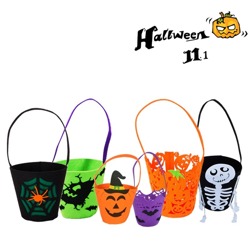 2018 New Halloween Pumpkin bag Smile Ghost Pumpkin Witch Skeleton Halloween Bag Kids Candy Bag Children Adult Wholesale