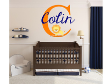 Baby Lion Wall Stickers Customized Girls Boys Baby Name Monogram Nursery Room Vinyl Wall Decal Removable