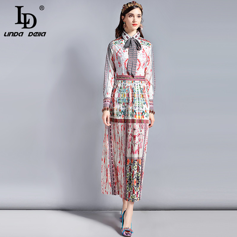 LD リンダデラ春のファッション滑走路デザイナードレス女性の長袖弓の襟レトロアートプリントヴィンテージロングドレス  グループ上の レディース衣服 からの ドレス の中 1