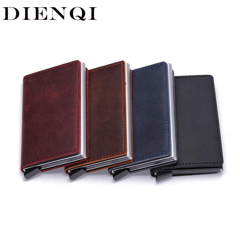 DIENQI Genuine Leather Rfid Credit Card Holders Case Metal Men Women Business Bank id Card Box Wallet for Credit Cards pashouder