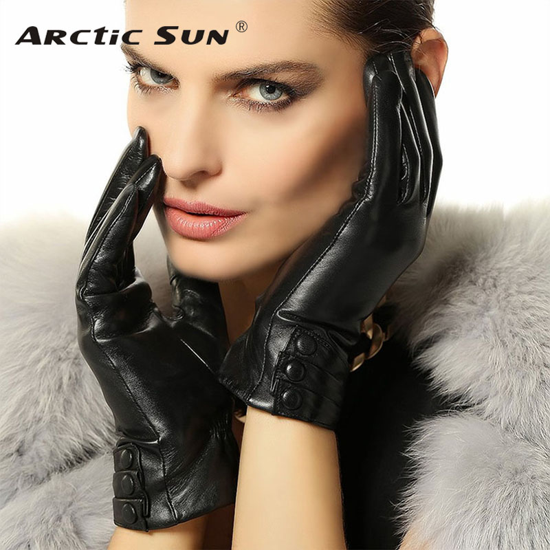 New Arrival Women TouchScreen Leather Gloves Warm Fashion Winter Genuine Goatskin Driving Leather Glove Five Finger L003NR1