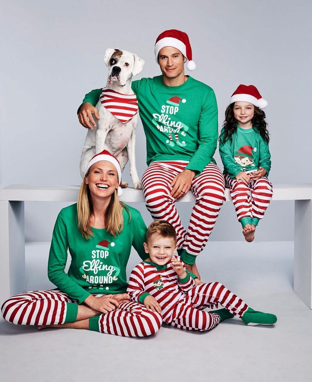 Familia pijamas de Navidad Set rayas conjunto familia mirar Matching familia pijamas de Navidad familia ropa a juego