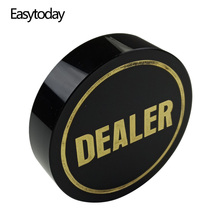 Easytoday Texas Poker Chips Standard Accessories Dealer Black Crystal All In Baccarat Button Gold Word Chip