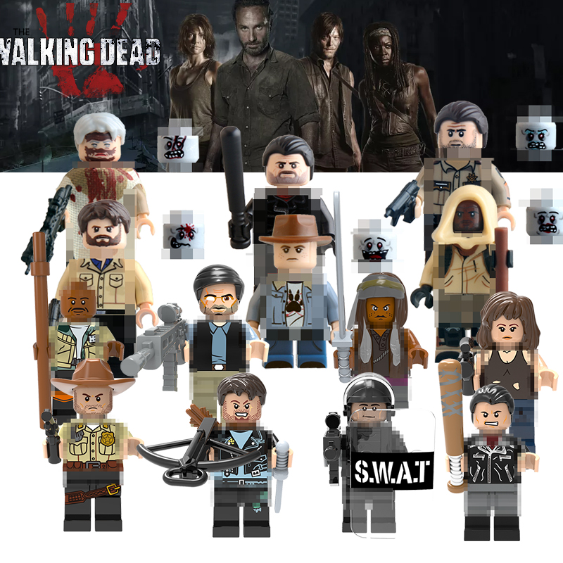 1pc The Walking Dead Figures Building Blocks Carl Daryl Rick Negan Michonne Daryl Dixon Maggie Green Super Hero DIY Toys Figures