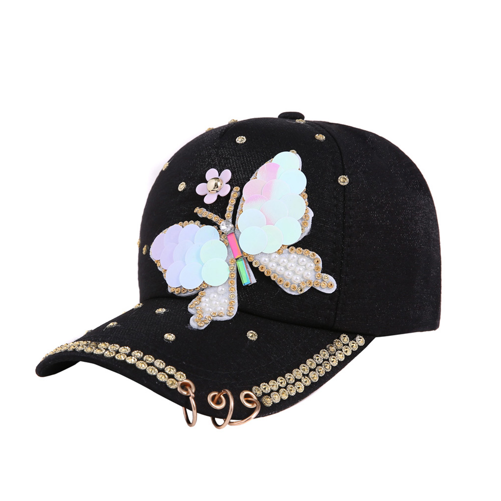 New Summer Women Sequin Sparkly Bling Butterfly Peaked   Cap   Hat Studded Rhinestone Pearl Cotton   Baseball     Cap